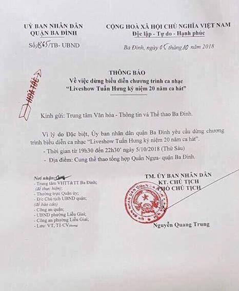 Công văn của UBND quận Ba ĐÌnh hủy bỏ liveshow của Tuấn Hưng